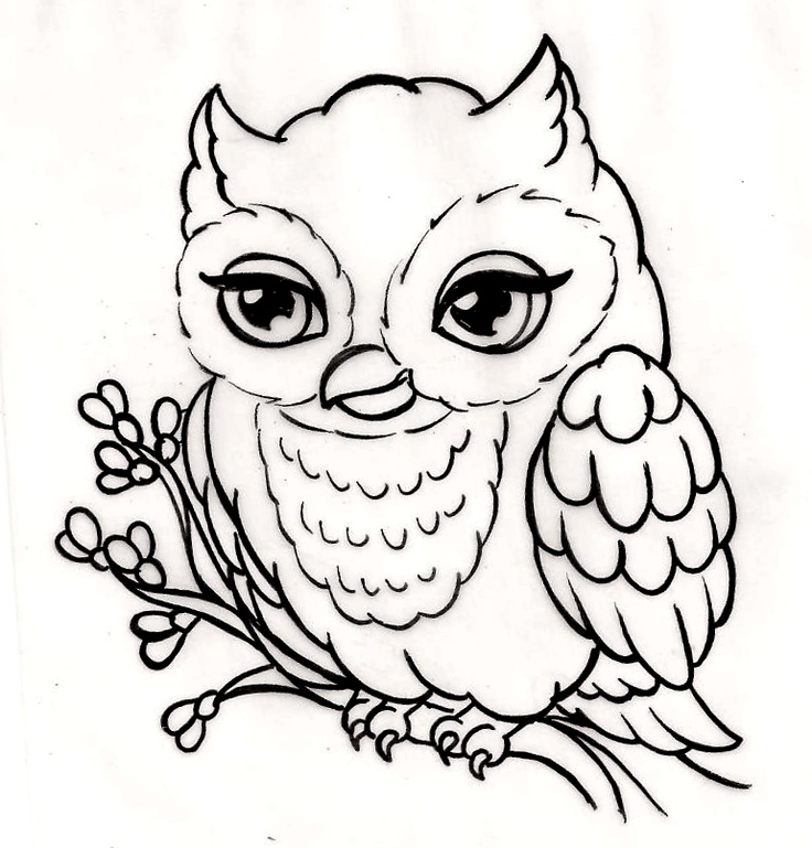 Little owl outline tattoo - photo#19