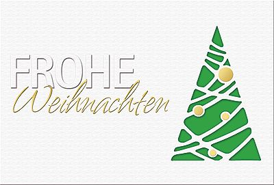 #Weihnachtskarte weiß/grün, Frohe #Weihnachten mit Formstanzung, inkl. Kuvert.