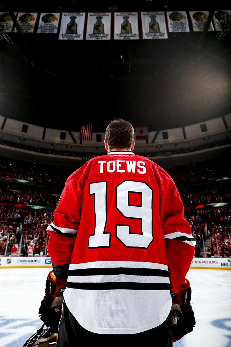 The Captain and the banners. Jonathan Toews Chicago Blackhawks