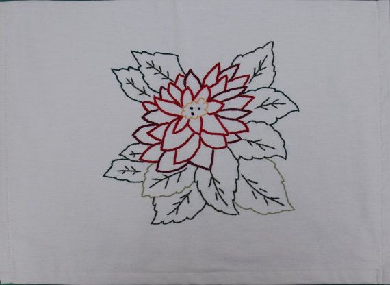 Christmas Placemats, Alexandrine flower, hand embroidered linen placemat, Christmas, Festive placemat