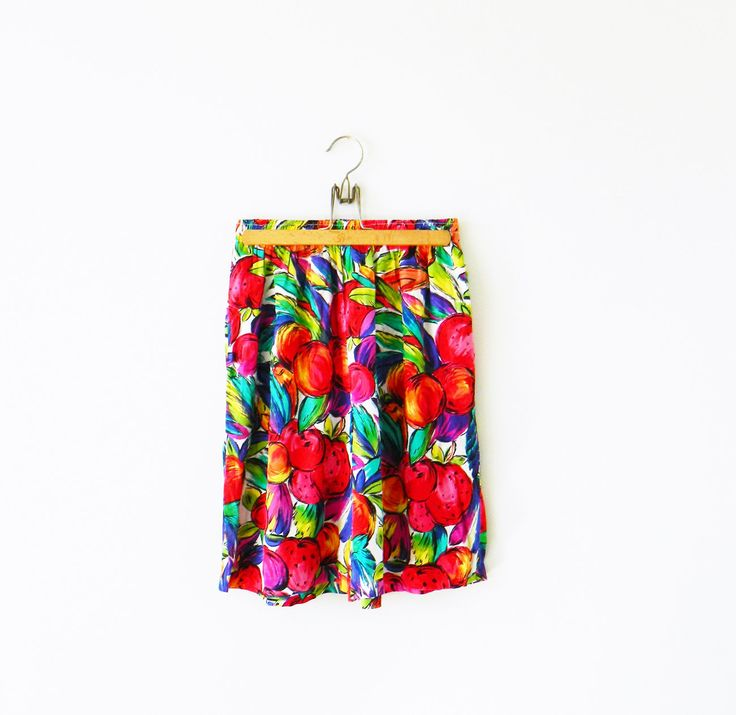 Stunning Vintage Fruit Party Short / High Waisted Flowy Shorts / Bold Vintage Fruity Shorts by thehappyforest on Etsy