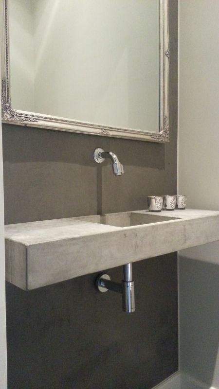 Wasbak zwevend, grijs beton