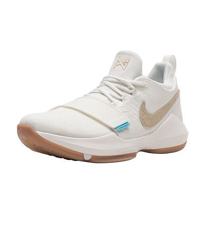 NIKE PG 1 Paul George signature Men's low top basketball sneaker Mesh and leather upper Phylon midsole Zoom air unit Heel tab for easy on and off Mid Velcro strap