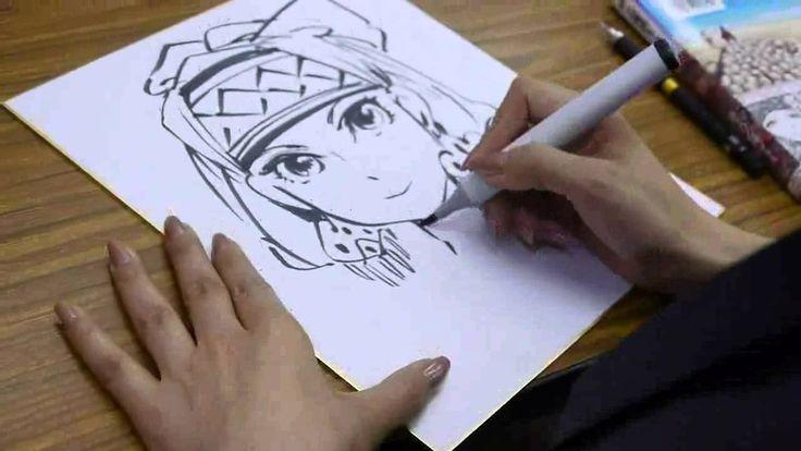 森薫さん、色紙にアミルを描く