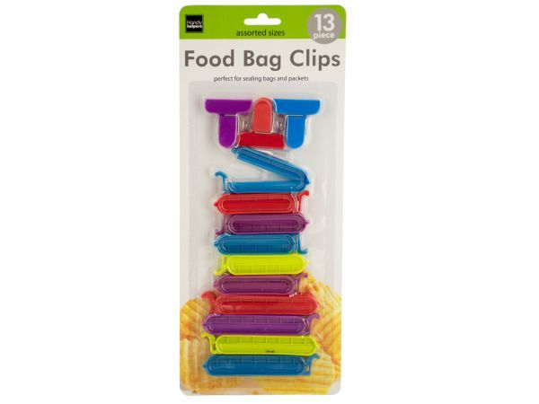 """Food Bag Clips, 72 - Ideal for sealing in freshness, this 13-piece Food Bag Clips Set features durable plastic clips in assorted sizes, styles and colors to fit a variety of bags. Clips measure approximately 1.5"""" to 4"""" wide. Comes packaged in a blister pack.-Colors: green,blue,red,purple. Material: metal,plastic. Weight: 0.3472/unit"""