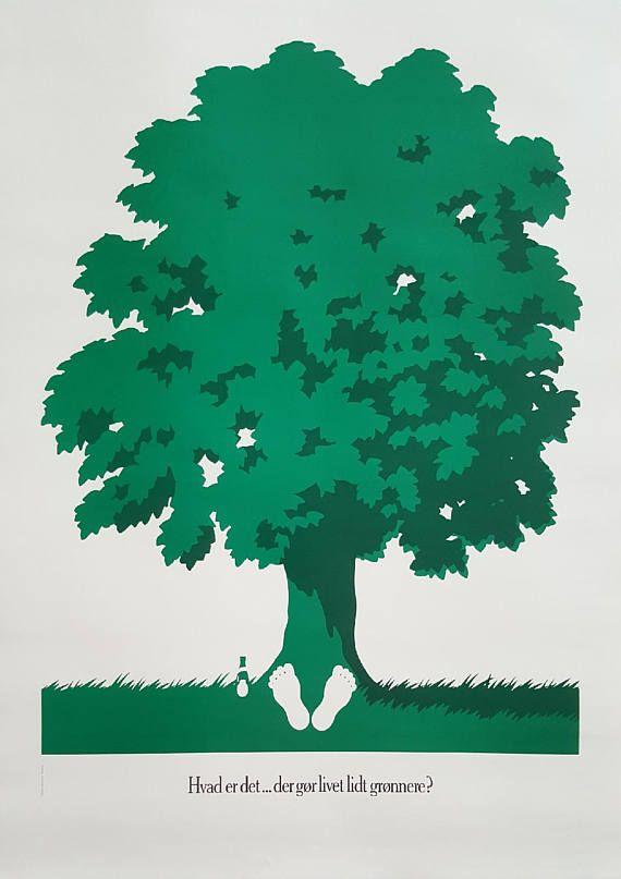 1985 Tuborg Beer Advertisement Tree  Original Vintage