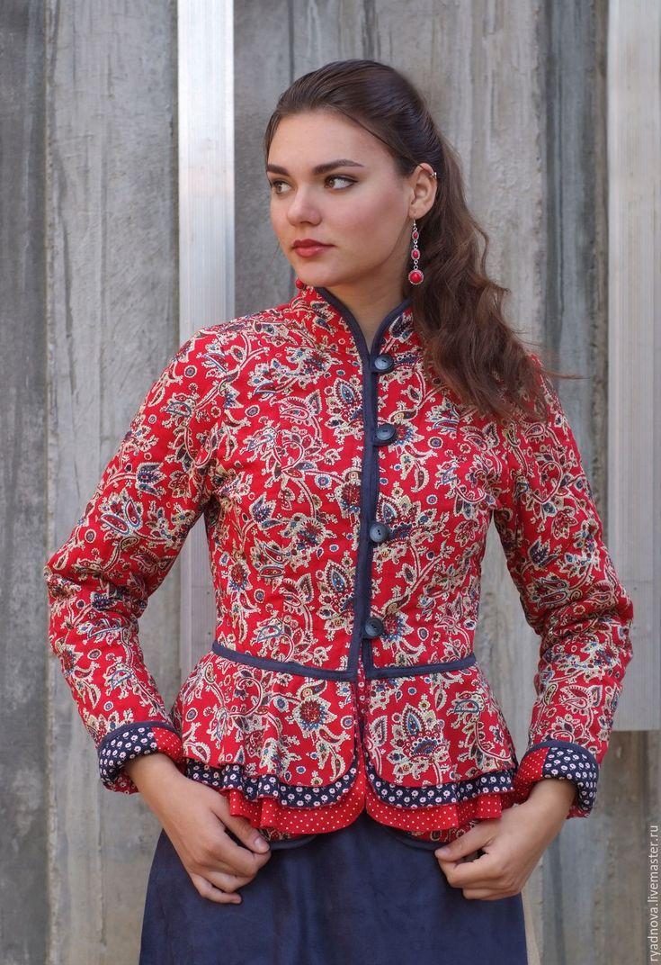 Купить Стеганый жакет Узорочье - комбинированный, русский стиль, жакет женский, душегрея, стеганая куртка