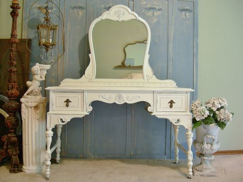 Antique Makeup Vanity Dressing Table Mirror Chic Berkey Gay Shabby Painted  White | eBay - Best 25+ Antique Makeup Vanities Ideas On Pinterest Vintage