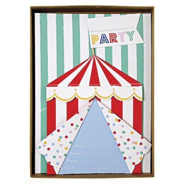 8 circus uitnodigingen van toot sweet.