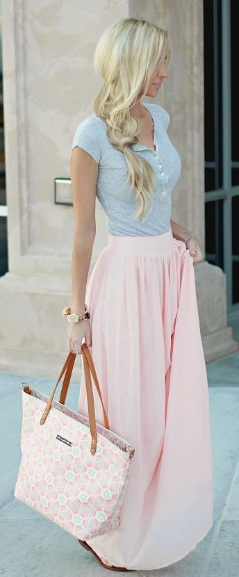 Pair a tee with a maxi skirt this summer! It balances out this outfit, allowing you to dress it up or down with accessories!
