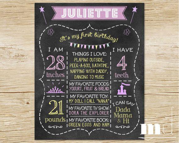 Custom Chalkboard Birthday Sign, Printable Stats Board - Princess Edition -