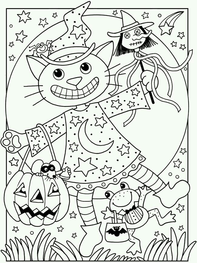 Welcome To Dover Publications Happy Halloween Coloring Book Witch Cat