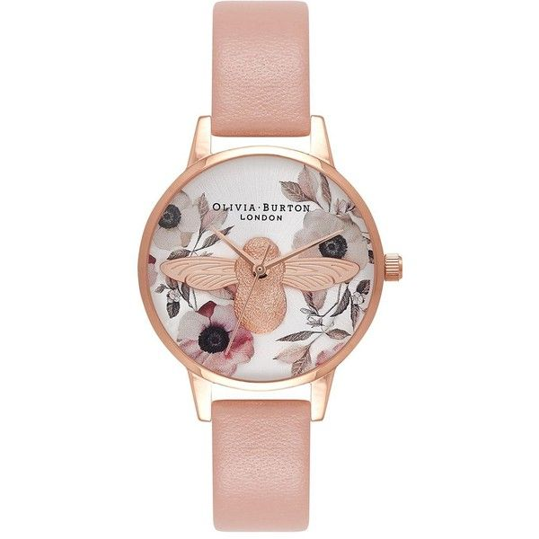 Midi Floral Moulded Bee Watch by Olivia Burton (8,410 PHP) ❤ liked on Polyvore featuring jewelry, watches, multi, bumble bee jewelry, olivia burton watches, leather jewelry, bee jewelry and floral watches