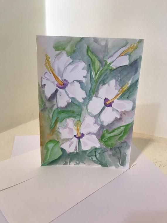 Original Watercolor Greeting Cards Hibiscus Hand Painted Cards