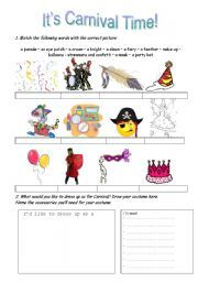 English worksheet: It´s Carnival Time!