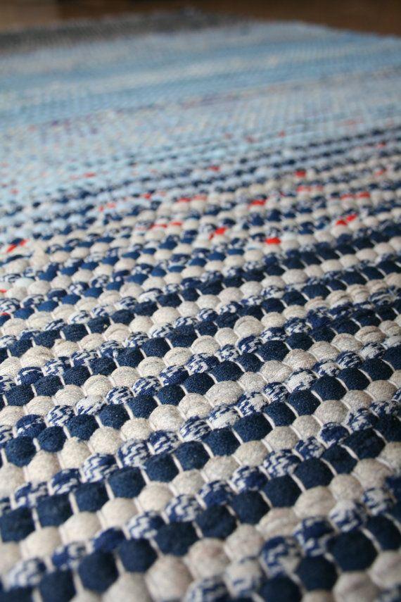 SERENE SCENE Handwoven rug in shades of blue by finnishweaver