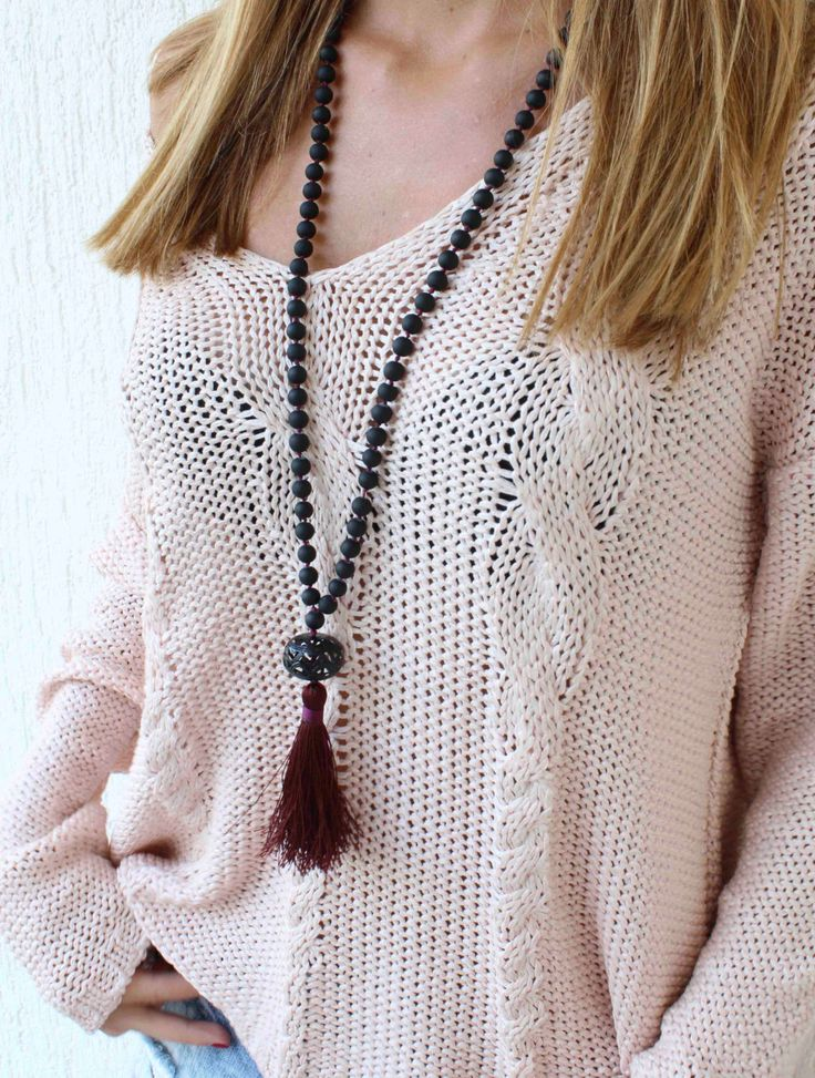 Black Beaded Tassel Necklace  Long Beaded