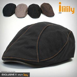 Ililily New Mens Leather Bill Flat Cap Cabbie Gatsby Ivy Irish.