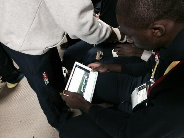 @kenyasevens reviewing the game on #sportstecplayer #ipad