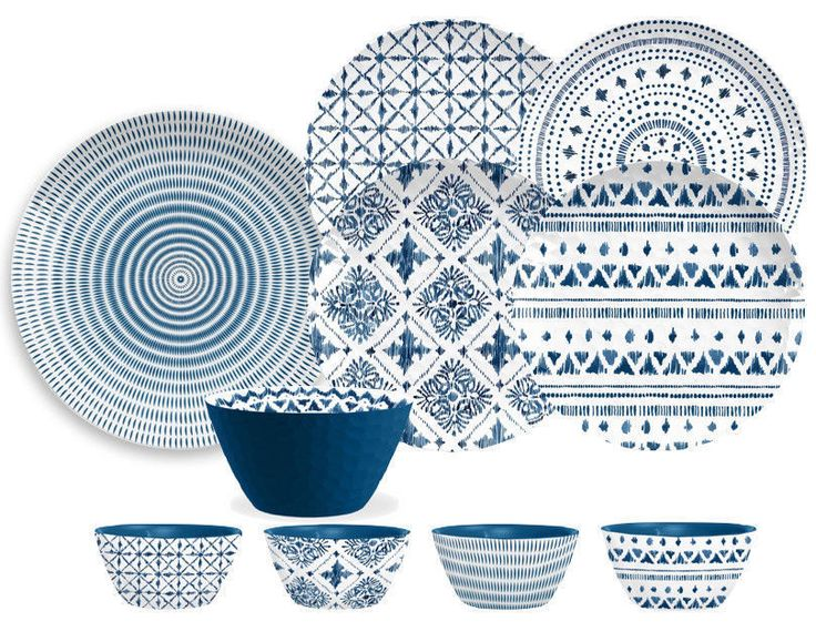 Indochine Ikat 16 Piece Melamine Dinnerware Set in Blue and White by TarHong #TarHong