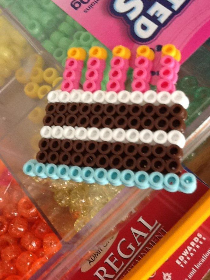 birthday swaps, cake swaps, party swaps Perler bead birthday cake by cookies143