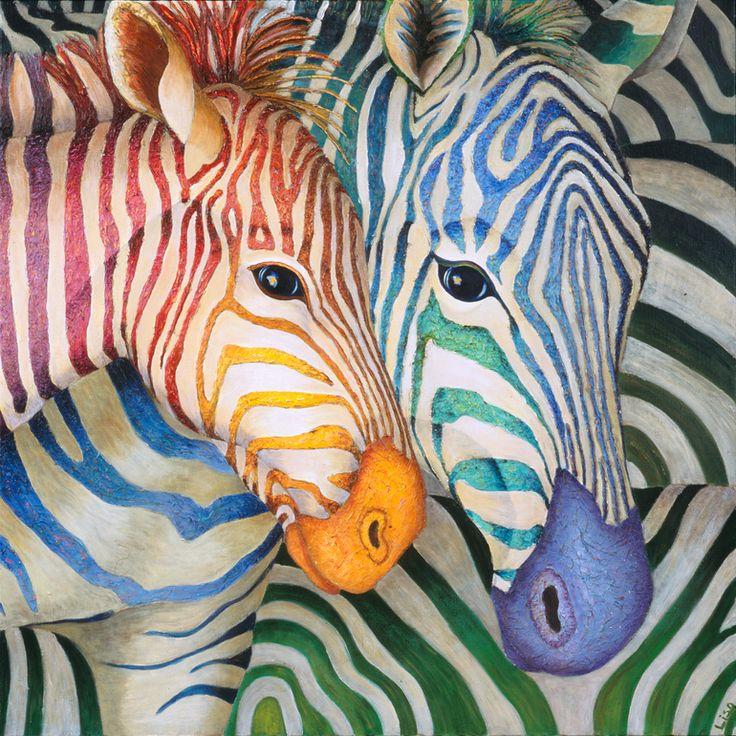 """Saatchi Online Artist: Lisa Benoudiz; Acrylic 2006 Painting """"Tender Zebras"""""""