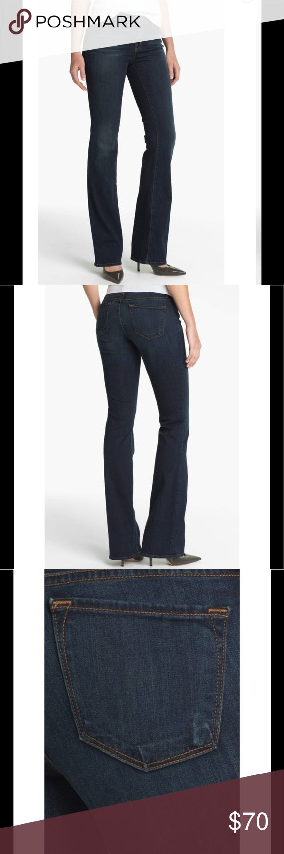 """NEW J Brand Veruca Jeans Dark, dimensional denim shapes versatile, mid-rise jeans styled with a slim fit through the seat and thighs that ends with flattering bootcut hems. Approx. inseam: 34"""" with 18"""" leg opening. Approx. rise: front 9""""; back 13 1/2"""". J Brand Jeans"""