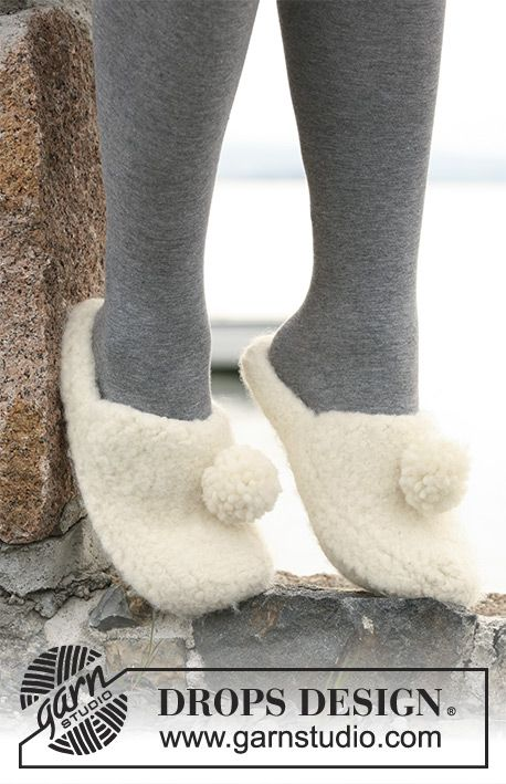 Felted DROPS slippers in 2 strands Eskimo