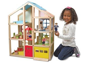 Wooden doll house-furniture-play house-dollhouse-roleplay-dramatic play-Melissa and Doug-Wooden educational toys-Resources-Early childhood