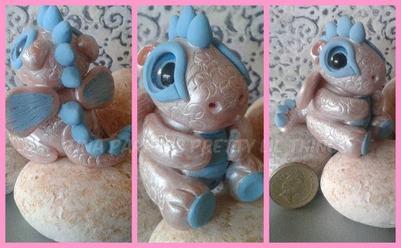 Polymer Clay Baby Dragon Metallic white and by Tinascraftsforyou, £12.95