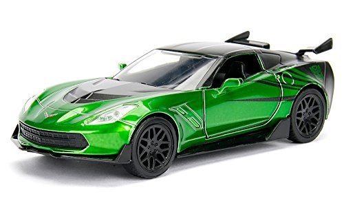 "2016 Chevrolet Corvette Crosshairs Green From ""Transformers 5"" Movie 1/32 by Jada 98397  Has opening doors. Detailed interior, exterior. Dimensions approximately L-4.5, H-2, W-2 inches."