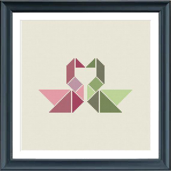 cross stitch pattern swans tangram love wedding par happinesst