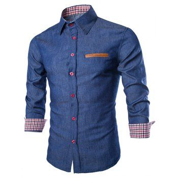 SHARE & Get it FREE | Slimming Shirt Collar Trendy Color Block PU Leather Pocket Hemming Long Sleeve Men's Denim ShirtFor Fashion Lovers only:80,000+ Items·FREE SHIPPING Join Dresslily: Get YOUR $50 NOW!