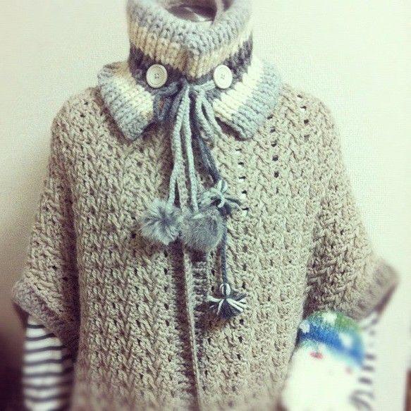 カシミアとシルク糸をかぎ針でひたすら模様編みした2wayスタイルのケープ。ネックウォーマーはリバーシブルタイプのイギリスゴム編み模様。zakkaはカラフルなも...|ハンドメイド、手作り、手仕事品の通販・販売・購入ならCreema。