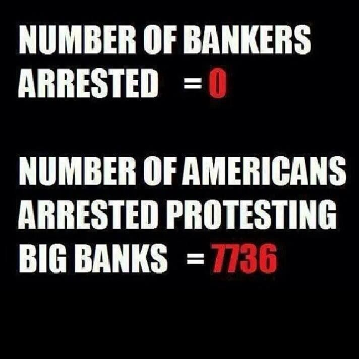 From 2005 to 2011, CITIBANK, JP MORGAN CHASE, GOLDMAN SACHS, BANK OF AMERICA, HSBC, ETC. stole billions from the U.S. Treasury (green-lighted by GOP House speaker John Boehner who endorsed the TARP bailouts). After paying its CEOs millions in bonuses, banksters invested the rest of the public's money in weaponry corporations and killingry financial institutions. When the public demanded a return of their money, the banks had them arrested...