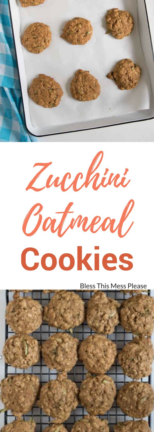 Zucchini Oatmeal Cookies -  surprisingly light and fluffy cookies made from oats and shredded zucchini.