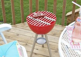 DIY Play Grill  --- using a bowl & dowel rods