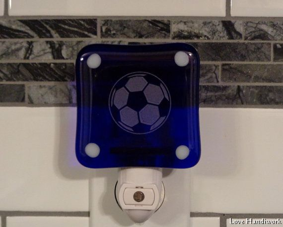 Soccer Ball Etched Fused Glass Night Light by LoveHandyWork