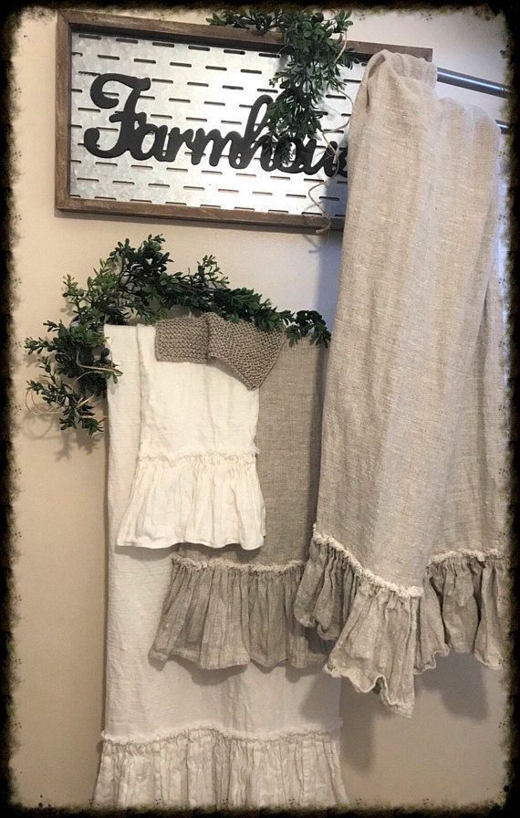 Linen Bath Towels Shabby Chic Farmhouse Decor Bathroom Towels With