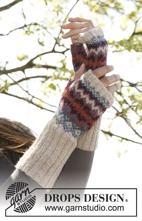 """Knitted DROPS hat, neck warmer and wrist warmers with Norwegian pattern in """"Alpaca"""". ~ DROPS Design"""
