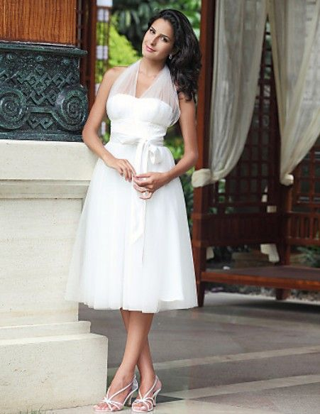 Halter neck short wedding dresses would love it with 3 4 for Beige short wedding dresses