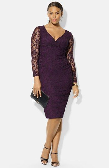 Lauren Ralph Lauren Lace Sheath Dressavailable at #Nordstrom. love the color and lace, neckline prob too low.