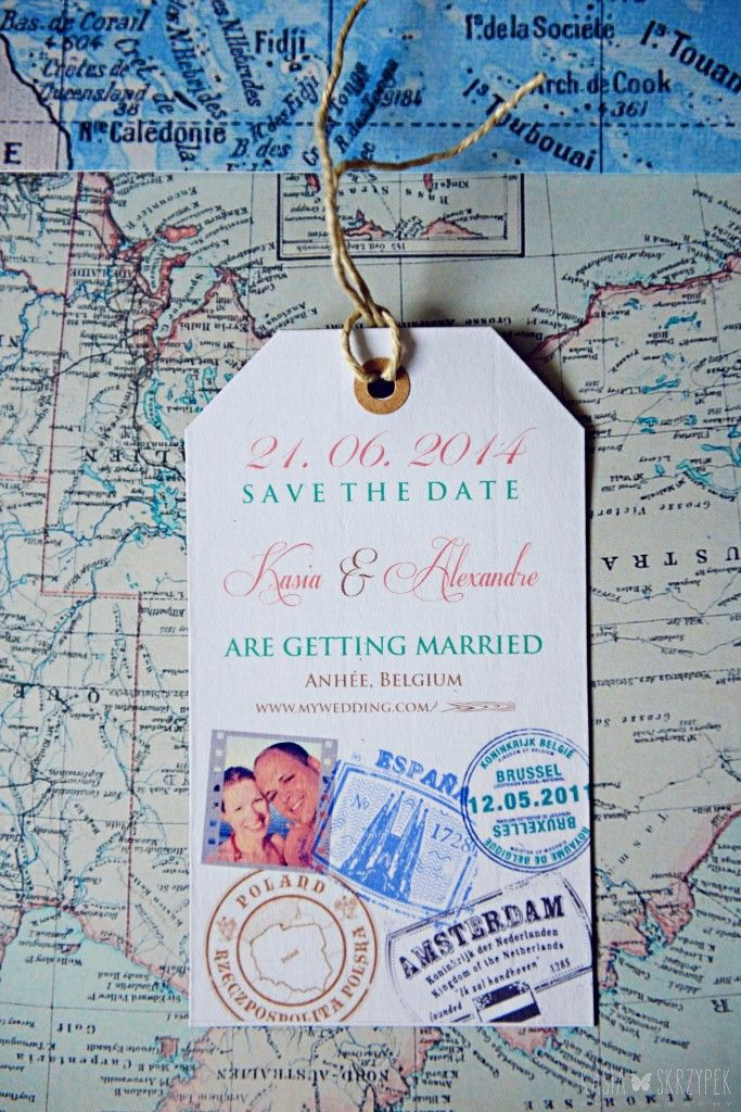 Travel theme wedding save the date available on https://www.etsy.com/listing/177272209/luggage-tag-stamp-map-travel-themed?