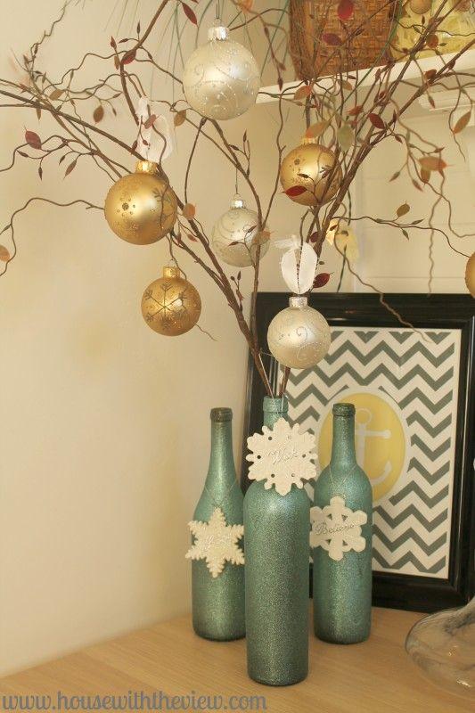 My holiday wine bottle decor