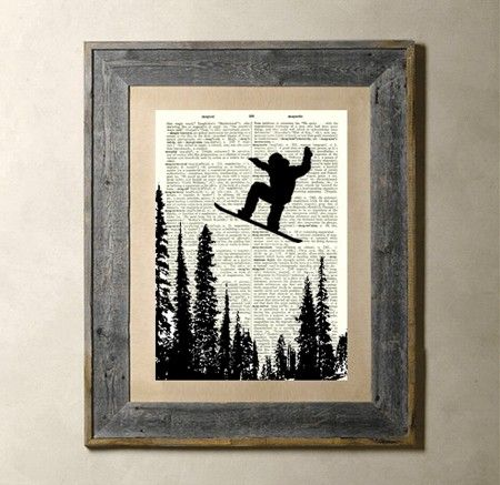 Snowboarding - Printed on a Vintage Dictionary Page 8X10