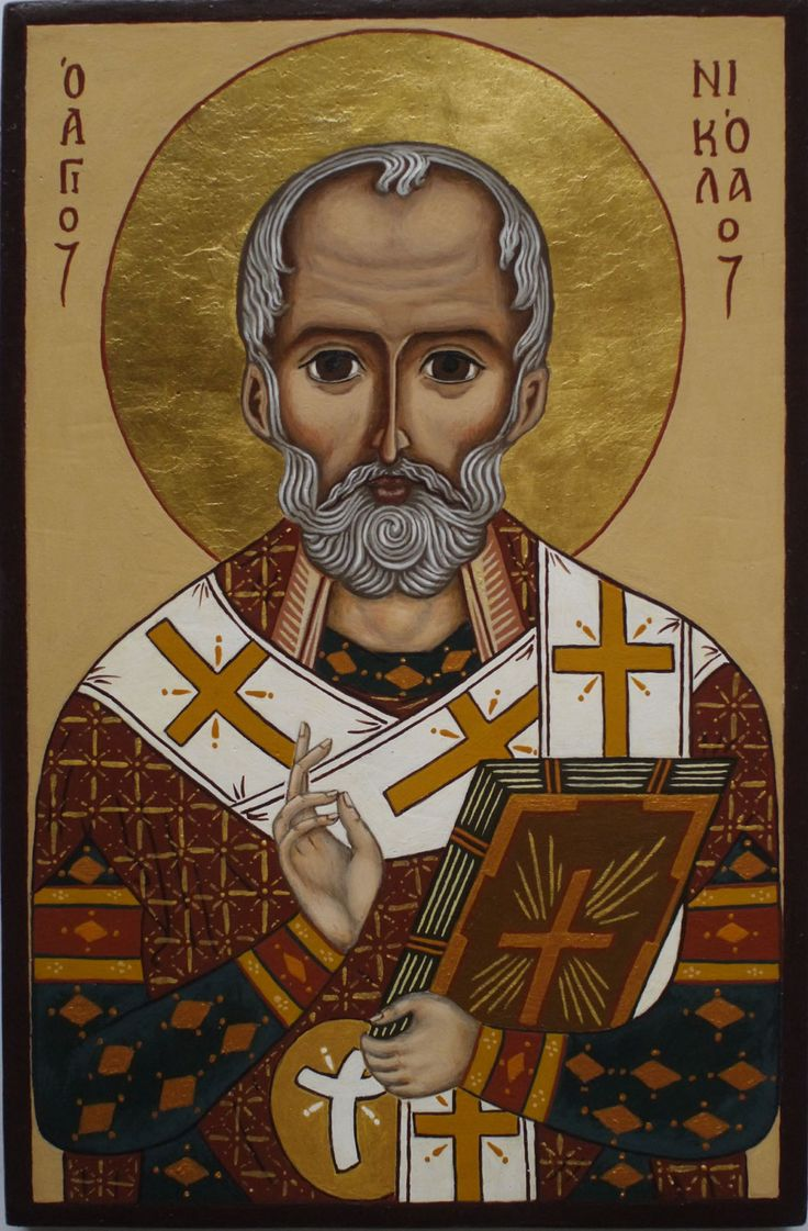 Icon of St Nicholas. Egg tempera on wooden board, 24 ct gold in aureole