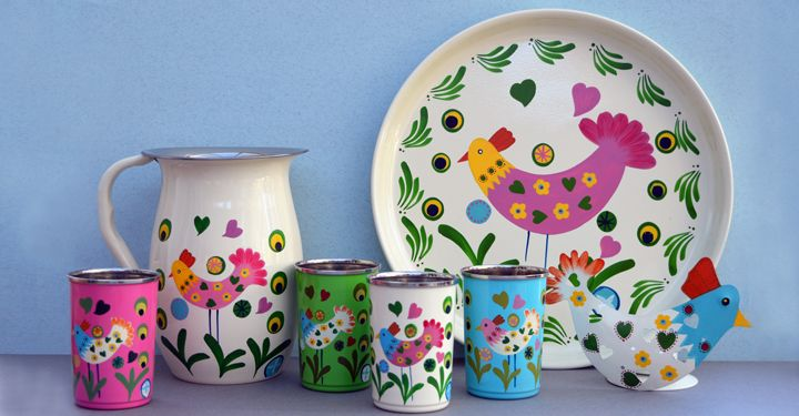 Cute & colourful. Fairtrade hand painted home accessories. Available from www.yourssustainably.com