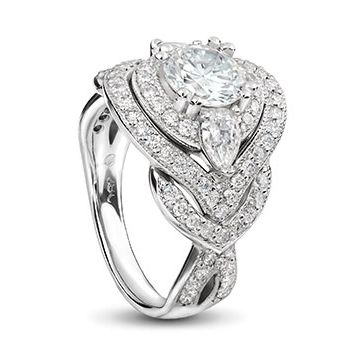18ct white Gold Engagement ring double halo