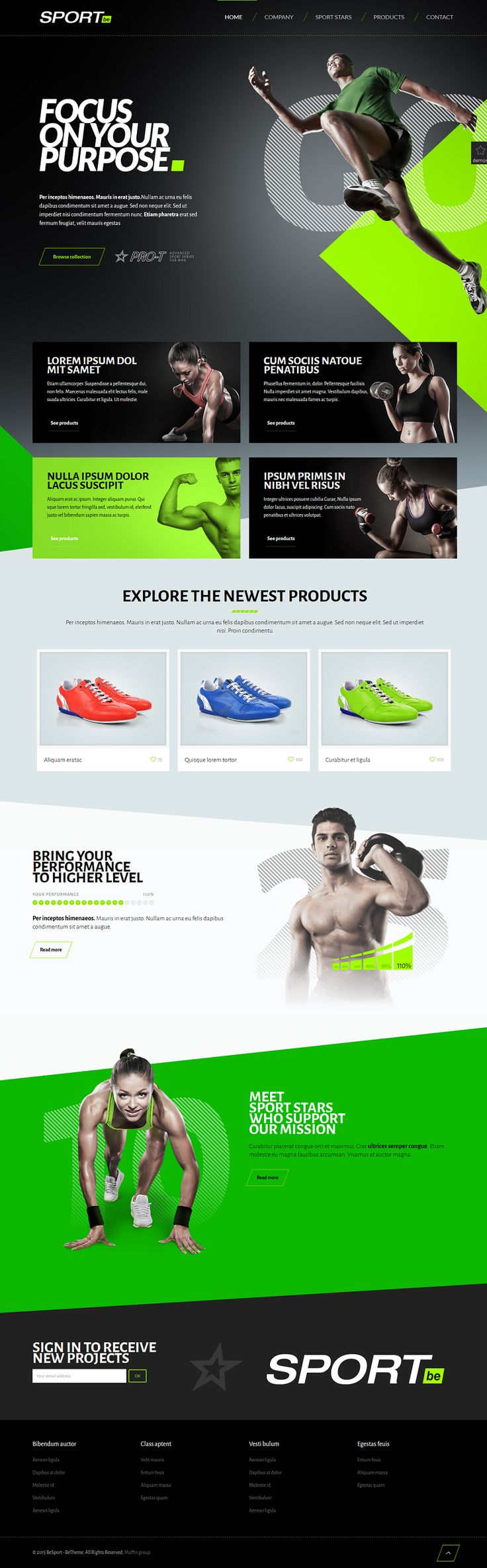 This green website design makes this athletic brand look energizing. Discover more website design examples at www.dotcomglobalmedia.com