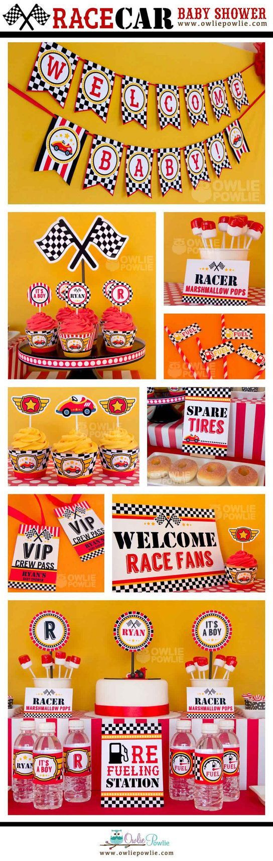 Race Car BABY Shower Party Printable Package & by OwliePowlie